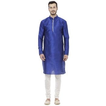 Blue Dupion Silk Plain Men Kurta Pajama