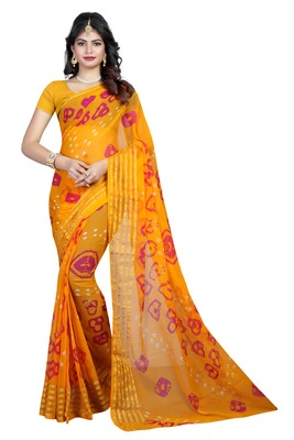 Multicolor woven chiffon saree with blouse