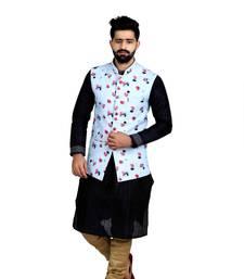 Multicolor Jute Printed Sleeveless Nehru Style Jacket