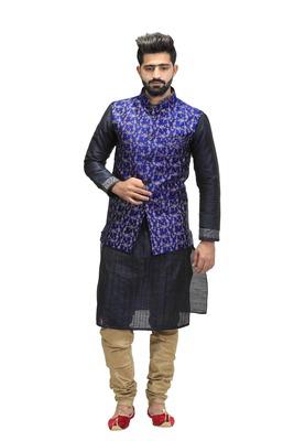 Blue Dupion Silk Printed Nehru Style Jacket