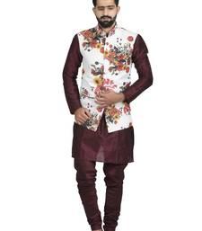 White Jute Printed Nehru Style Jacket