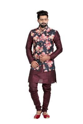 Black Jute Printed Nehru Style Jacket