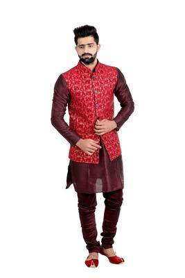 Red Dupion Silk Printed Nehru Style Jacket
