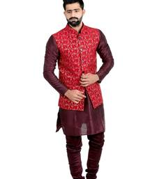 Red Dupion Silk Printed Nehru Style Jacket