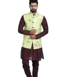 Green Satin Printed Nehru Style Jacket