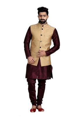 Gold Dupion Silk Printed Nehru Style Jacket
