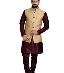 Buy Gold Dupion Silk Printed Nehru Style Jacket nehru-jacket online