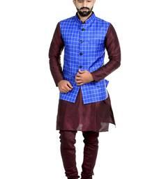 Blue Jute Printed Nehru Style Jacket