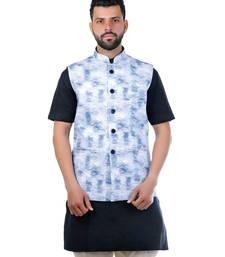 Blue Cotton Printed Nehru Style Jacket