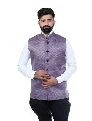 Purple Satin Printed Nehru Style Jacket
