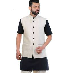Beige Velvet Printed Nehru Style Jacket
