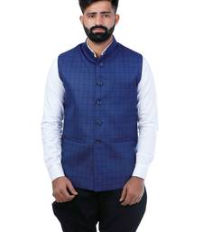 Blue Cotton Poly Printed Nehru Style Jacket
