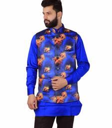 Blue Satin Printed Nehru Style Jacket