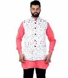 White Satin Printed Nehru Style Jacket