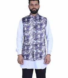 Grey Satin Printed Nehru Style Jacket