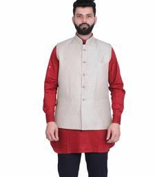 Beige Dupion Silk Printed Nehru Style Jacket