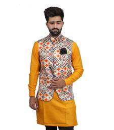 Multicolor Satin Printed Nehru Style Jacket