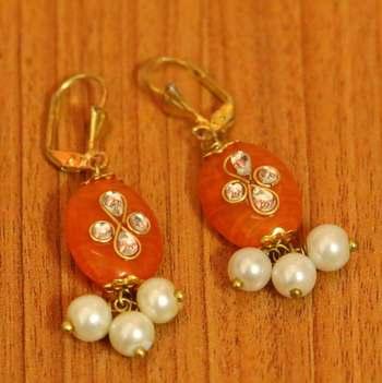Orange Beaded Jewellery Onyx Yellow Gold Hoops
