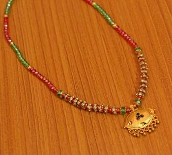 Multicolor Polki Onyx Yellow Gold Mangalsutra