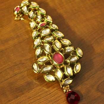 Red Kundan Ruby Yellow Gold Brooch