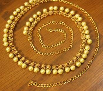 Yellow Polki Pearl Yellow Gold Waist Belt