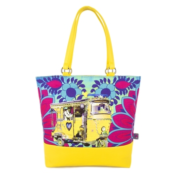 Yellow Auto Rickshaw Canvas and Faux Leather Tote Bag