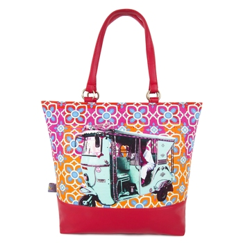 Turquoise Green Taxi Tote Bag
