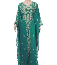 Green Georgette Farasha With Zari And Stone Embroidery Work