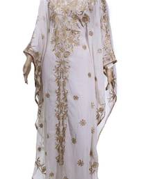 White Georgette Farasha With Zari And Stone Embroidery Work