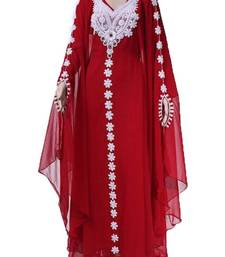Maroon Georgette Farasha With Zari And Stone Embroidery Work