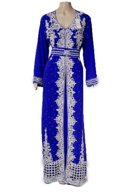 Blue Georgette Islamic Kaftan With Zari And Stone Embroidery Work