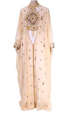 Peach And White Georgette Islamic Kaftan With Zari And Stone Embroidery Work