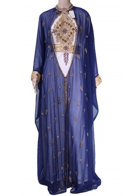 Navy Blue And White Georgette Islamic Kaftan With Zari And Stone Embroidery Work