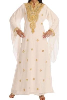 White Georgette Islamic Kaftan With Zari And Stone Embroidery Work