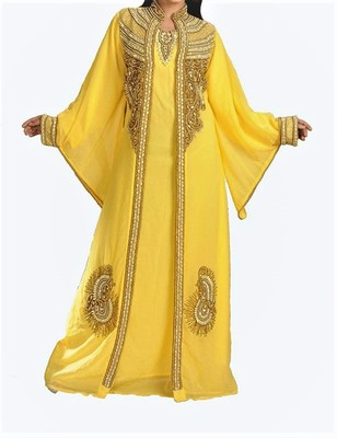Yellow Georgette Islamic Kaftan With Zari And Stone Embroidery Work
