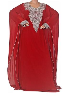 Red Georgette Farasha With Zari And Stone Embroidery Work