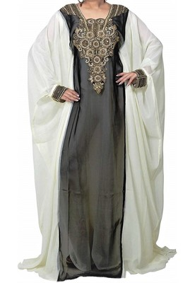 Black And White Georgette Islamic Kaftan With Zari And Stone Embroidery Work