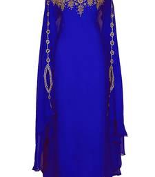 Buy Blue Georgette Farasha With Zari And Stone Embroidery Work farasha online