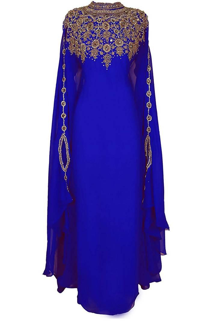 Buy Blue Georgette Farasha With Zari And Stone Embroidery
