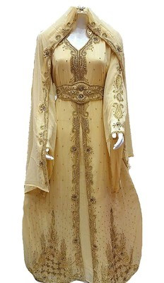 Beige Georgette Islamic Kaftan With Zari And Stone Embroidery Work