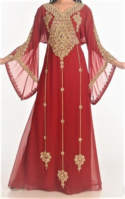 Maroon Georgette Islamic Kaftan With Zari And Stone Embroidery Work