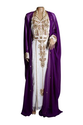 Purple And White Georgette Islamic Kaftan With Zari And Stone Embroidery Work