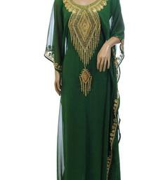 Green Georgette Farasha With Zari And Stone Embroidery Work