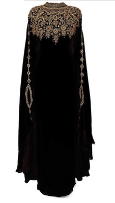Black Georgette Farasha With Zari And Stone Embroidery Work