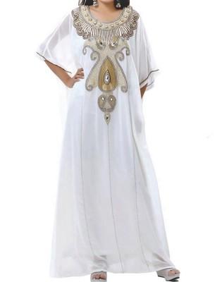 White Georgette Farasha With Zari And Stone Embroidery Work