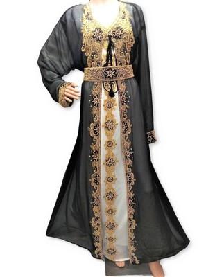 White And Black Georgette Islamic Kaftan With Zari And Stone Embroidery Work