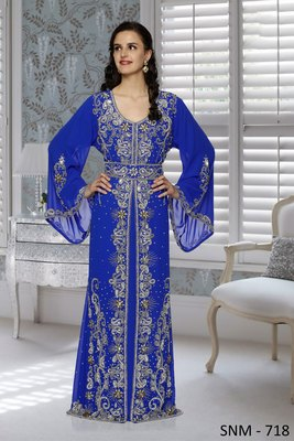 Royal Blue Faux Georgette Party Wear Islamic Kaftan With Zari And Stone Embroidery Work
