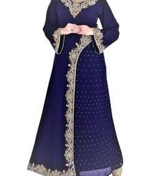 Navy Blue Georgette Islamic Kaftan With Zari And Stone Embroidery Work