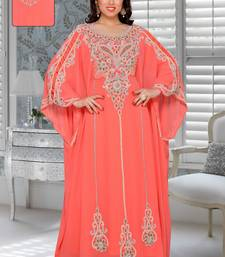 Coral Faux Georgette Party Wear Farasha With Zari And Stone Embroidery Work