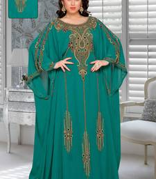 Teal Faux Georgette Party Wear Farasha With Zari And Stone Embroidery Work